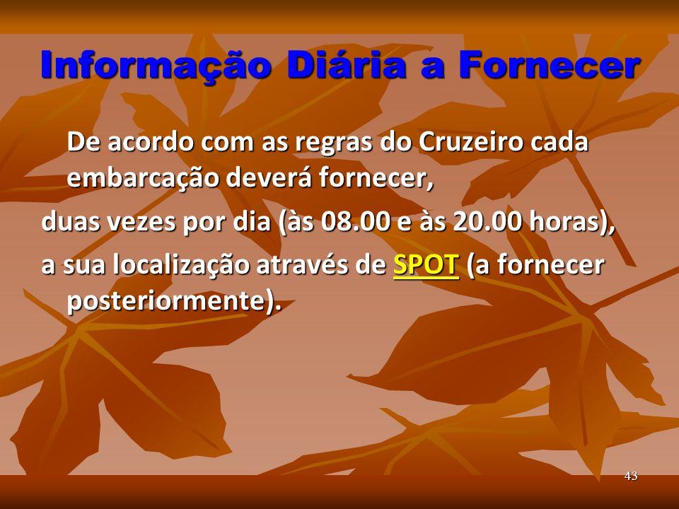 43 Informação Diária a Fornecer De acordo com as regras do Cruzeiro cada embarcação deverá fornecer, duas vezes por dia (às 08.00 e às 20.00 horas), a