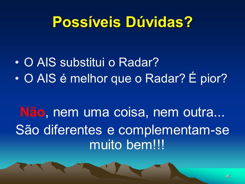45 Possíveis Dúvidas? •O AIS substitui o Radar? •O AIS é melhor que o Radar? É pior? Não, nem uma coisa, nem outra... São diferentes e complementam-se