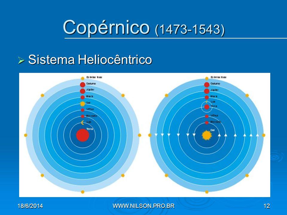  Sistema Heliocêntrico Copérnico (1473-1543) 18/6/2014WWW.NILSON.PRO.BR12