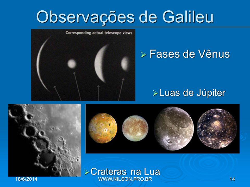 Observações de Galileu  Fases de Vênus  Crateras na Lua  Luas de Júpiter 18/6/2014WWW.NILSON.PRO.BR14