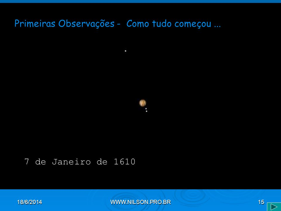 Primeiras Observações - Como tudo começou... 7 de Janeiro de 1610 18/6/2014WWW.NILSON.PRO.BR15