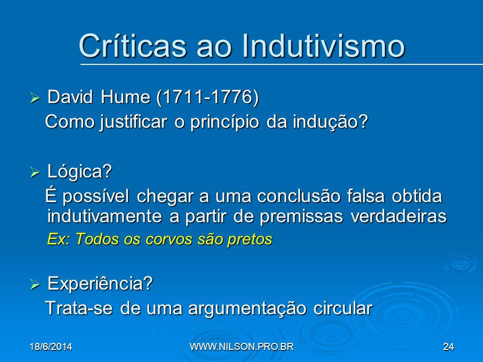 Críticas ao Indutivismo  David Hume (1711-1776) Como justificar o princípio da indução.