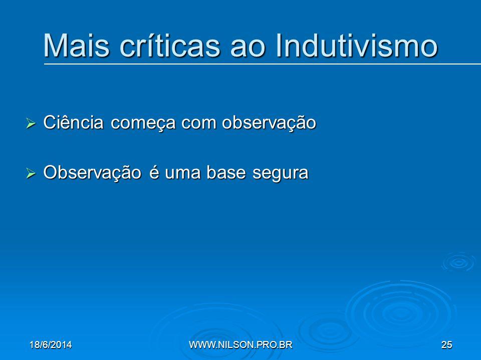 Mais críticas ao Indutivismo  Ciência começa com observação  Observação é uma base segura 18/6/2014WWW.NILSON.PRO.BR25