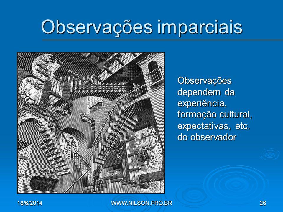 Observações imparciais Observações dependem da experiência, formação cultural, expectativas, etc.