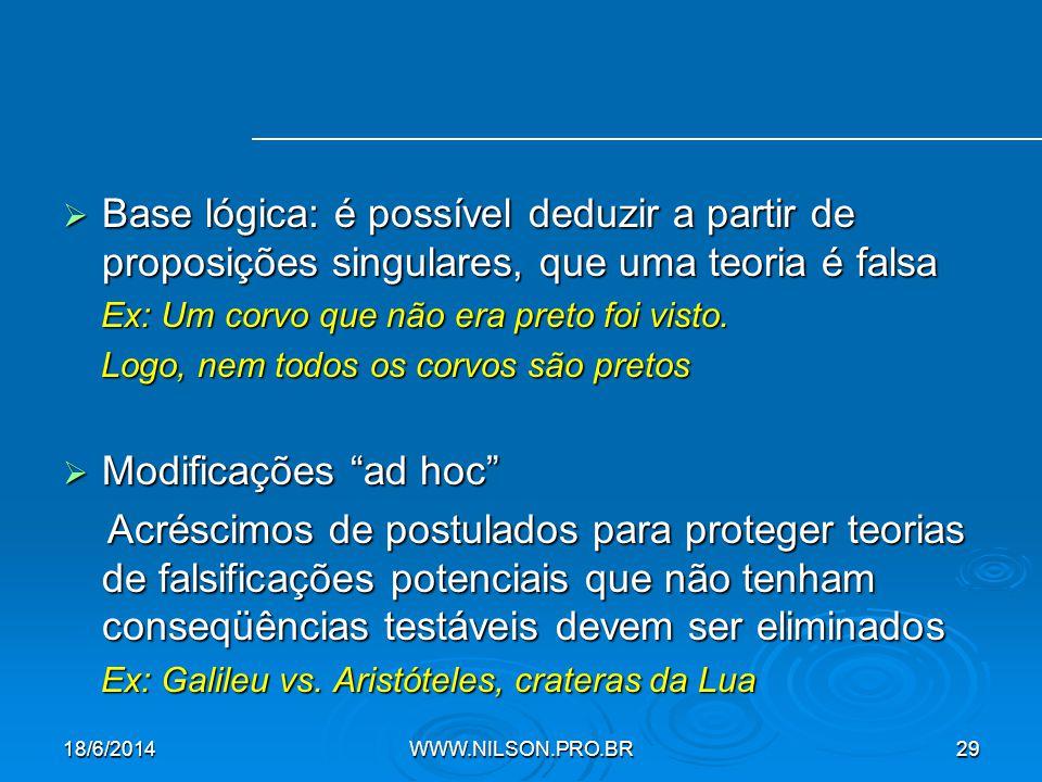  Base lógica: é possível deduzir a partir de proposições singulares, que uma teoria é falsa Ex: Um corvo que não era preto foi visto.