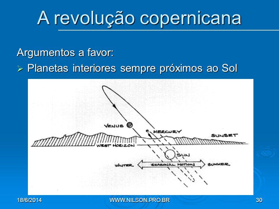 Argumentos a favor:  Planetas interiores sempre próximos ao Sol A revolução copernicana 18/6/2014WWW.NILSON.PRO.BR30