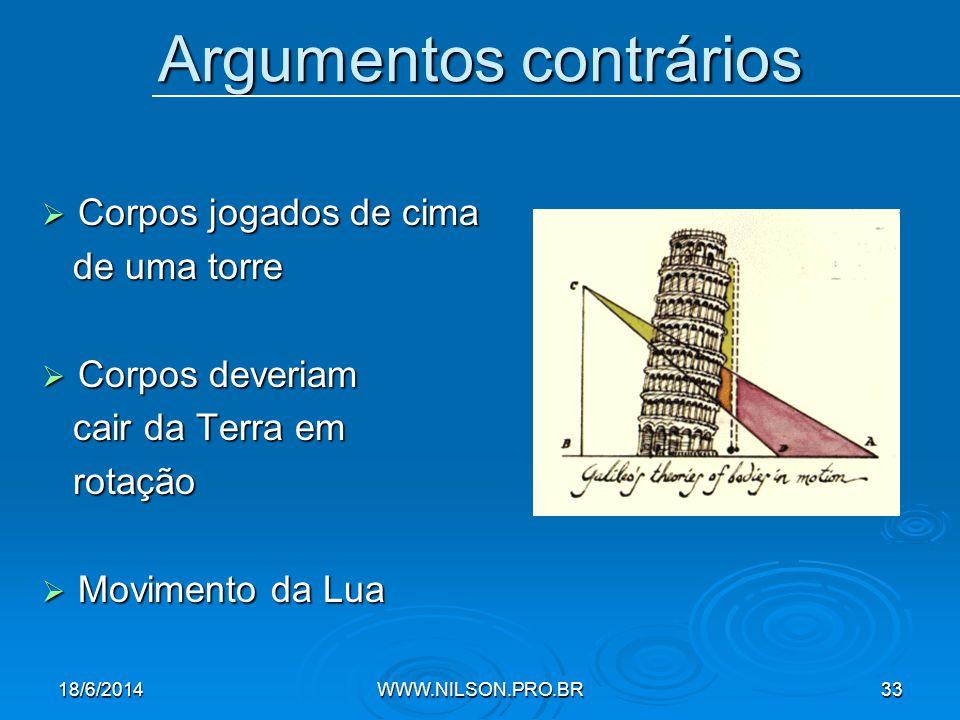Argumentos contrários  Corpos jogados de cima de uma torre de uma torre  Corpos deveriam cair da Terra em cair da Terra em rotação rotação  Movimento da Lua 18/6/2014WWW.NILSON.PRO.BR33