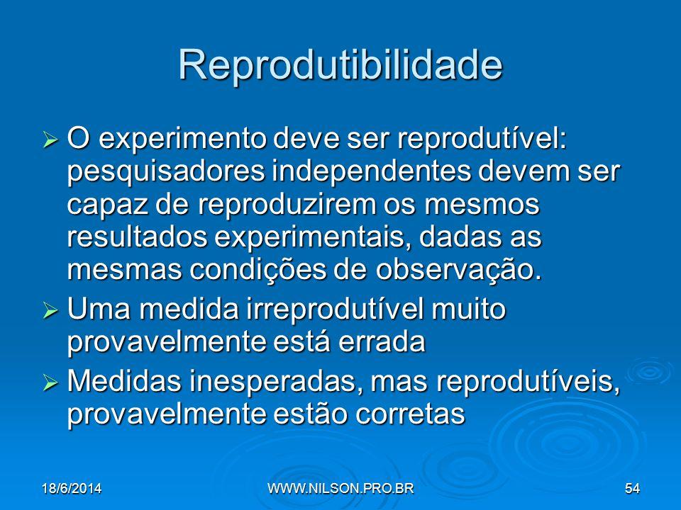 Reprodutibilidade  O experimento deve ser reprodutível: pesquisadores independentes devem ser capaz de reproduzirem os mesmos resultados experimentais, dadas as mesmas condições de observação.