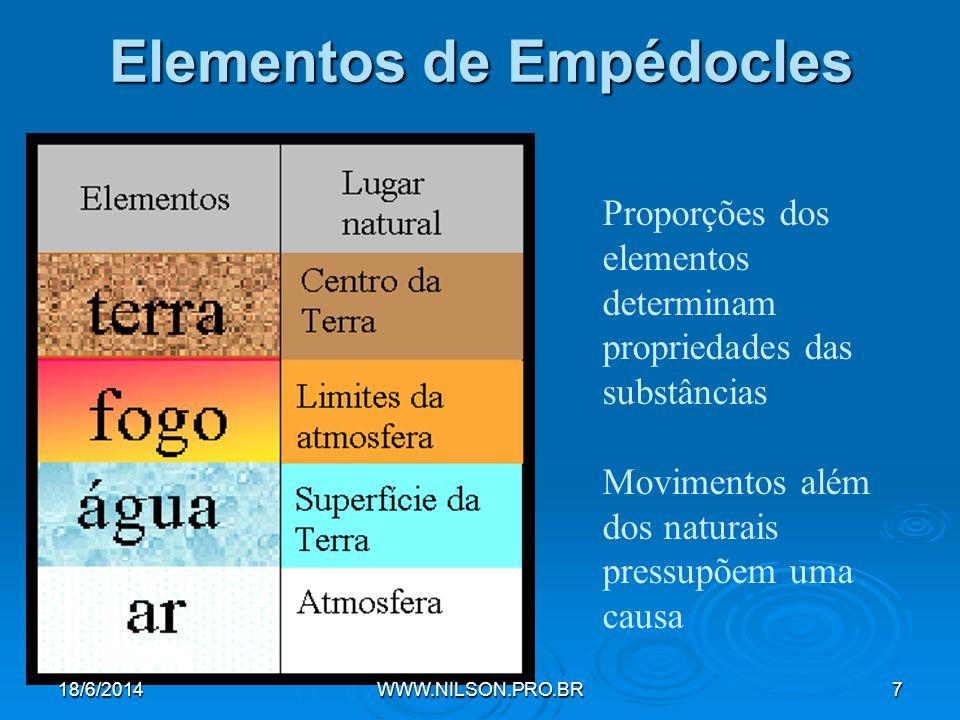 Elementos de Empédocles Proporções dos elementos determinam propriedades das substâncias Movimentos além dos naturais pressupõem uma causa 18/6/2014WWW.NILSON.PRO.BR7