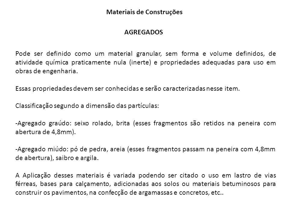 Materiais de Construções AGREGADOS Pode ser definido como um material granular, sem forma e volume definidos, de atividade química praticamente nula (