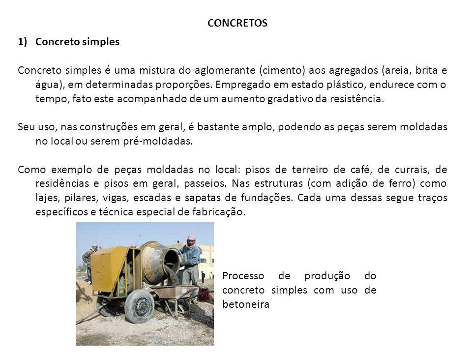 CONCRETOS 1)Concreto simples Concreto simples é uma mistura do aglomerante (cimento) aos agregados (areia, brita e água), em determinadas proporções.
