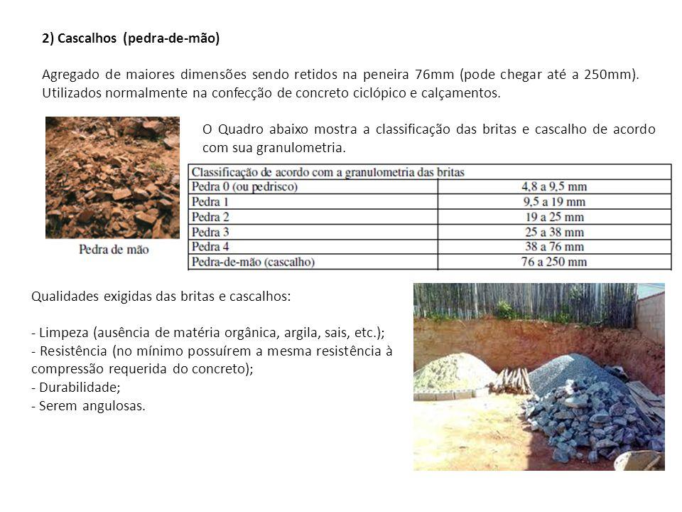2) Cascalhos (pedra-de-mão) Agregado de maiores dimensões sendo retidos na peneira 76mm (pode chegar até a 250mm). Utilizados normalmente na confecção