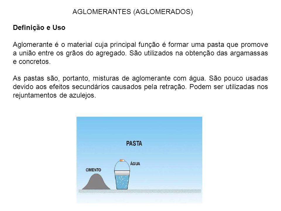 AGLOMERANTES (AGLOMERADOS) Definição e Uso Aglomerante é o material cuja principal função é formar uma pasta que promove a união entre os grãos do agr