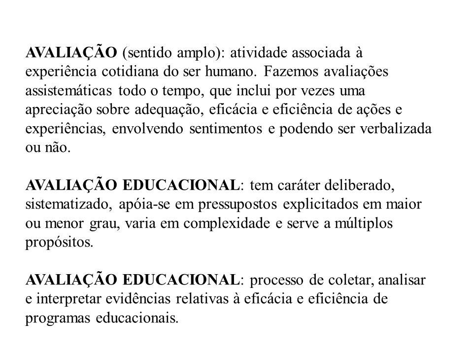 DA AVALIAÇÃO DE RENDIMENTO ESCOLAR À AVALIAÇÃO DE SISTEMAS EDUCACIONAIS diferentes perspectivas • avaliações de rendimento de alunos, realizada, em quase sua totalidade, em resposta às demandas governamentais; • avaliações de sistemas escolares ou avaliação em larga escala (avaliação do rendimento escolar + fatores internos e externos à Escola) • estudos focalizados na análise e compreensão do desempenho escolar de alunos, à luz de condicionantes internos e externos à escola, discutindo a aprendizagem escolar no contexto de suas reais condições de produção.