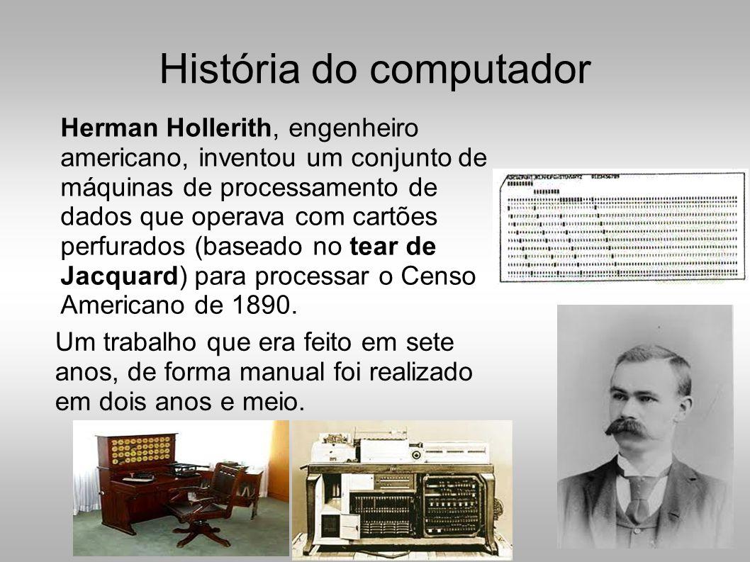 História do computador Um trabalho que era feito em sete anos, de forma manual foi realizado em dois anos e meio.