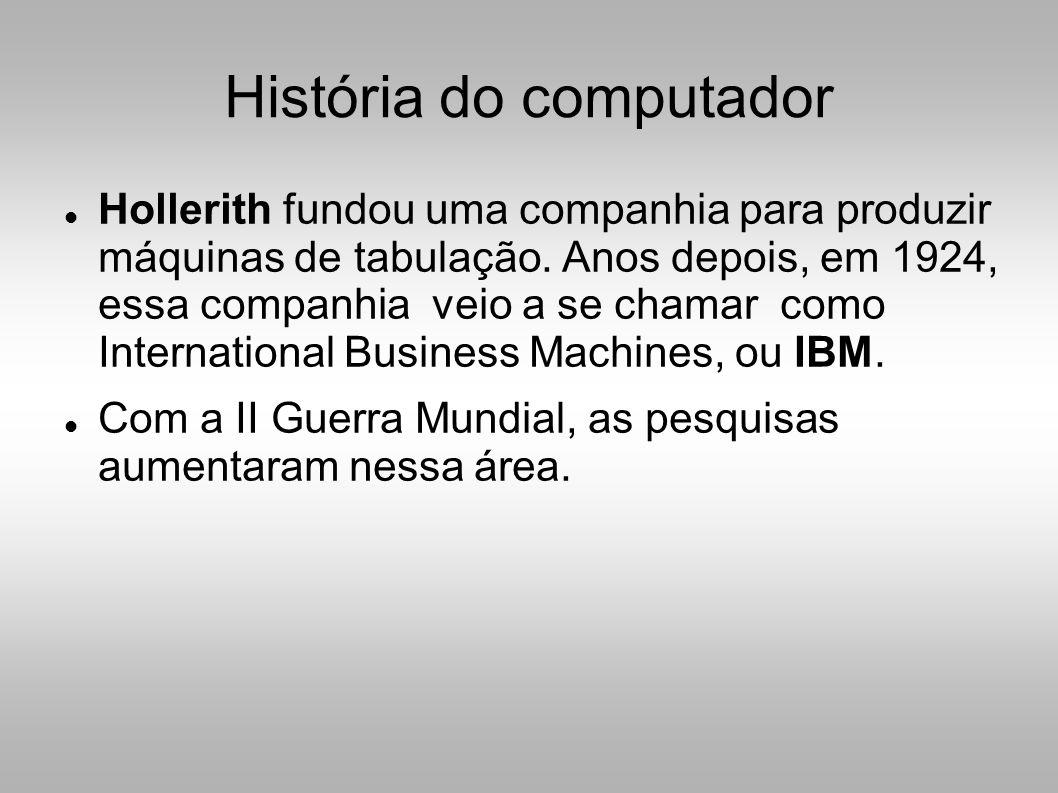 História do computador  Hollerith fundou uma companhia para produzir máquinas de tabulação.