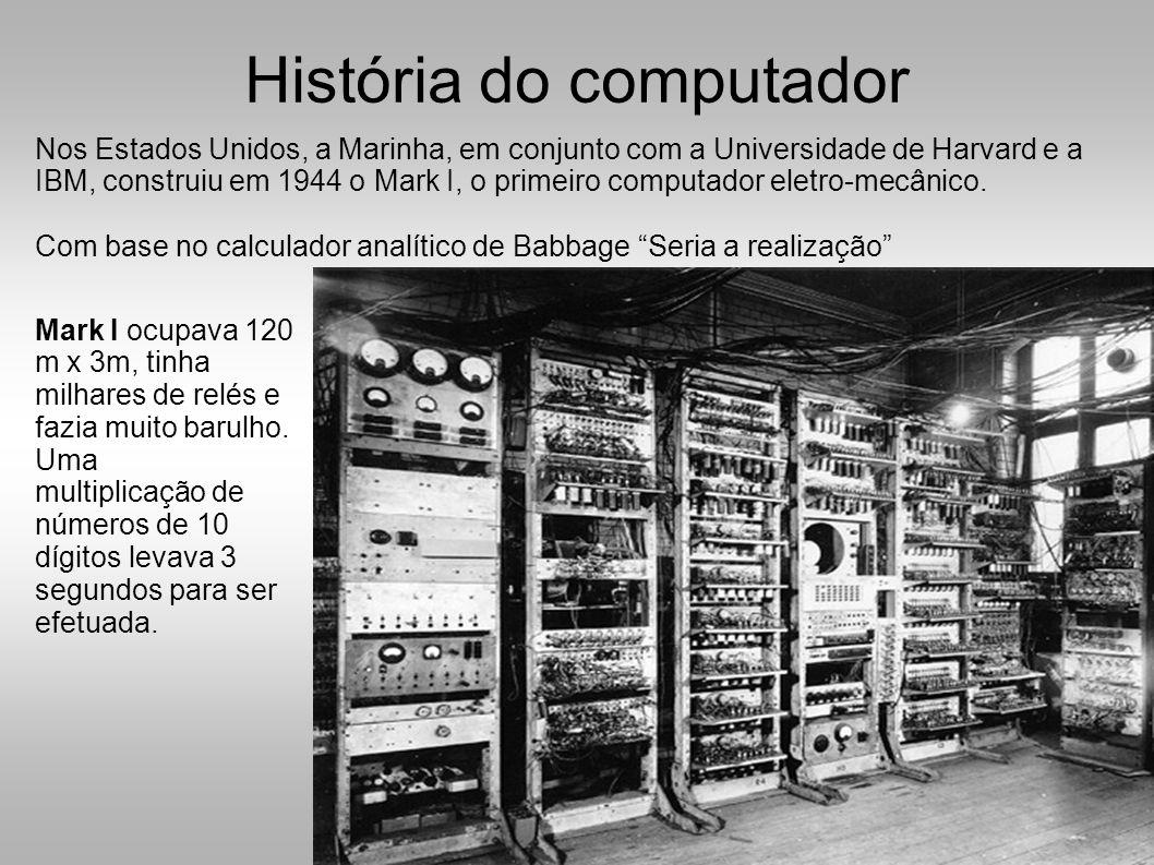 Nos Estados Unidos, a Marinha, em conjunto com a Universidade de Harvard e a IBM, construiu em 1944 o Mark I, o primeiro computador eletro-mecânico.