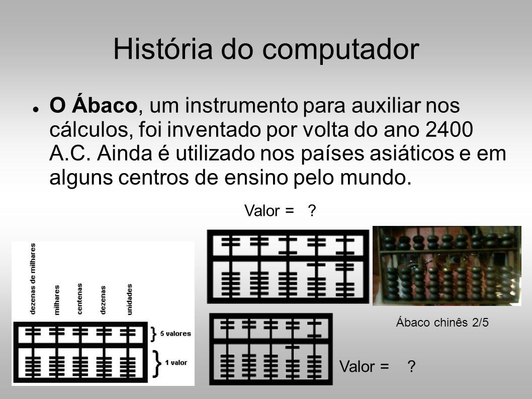 História do computador  O Ábaco, um instrumento para auxiliar nos cálculos, foi inventado por volta do ano 2400 A.C.