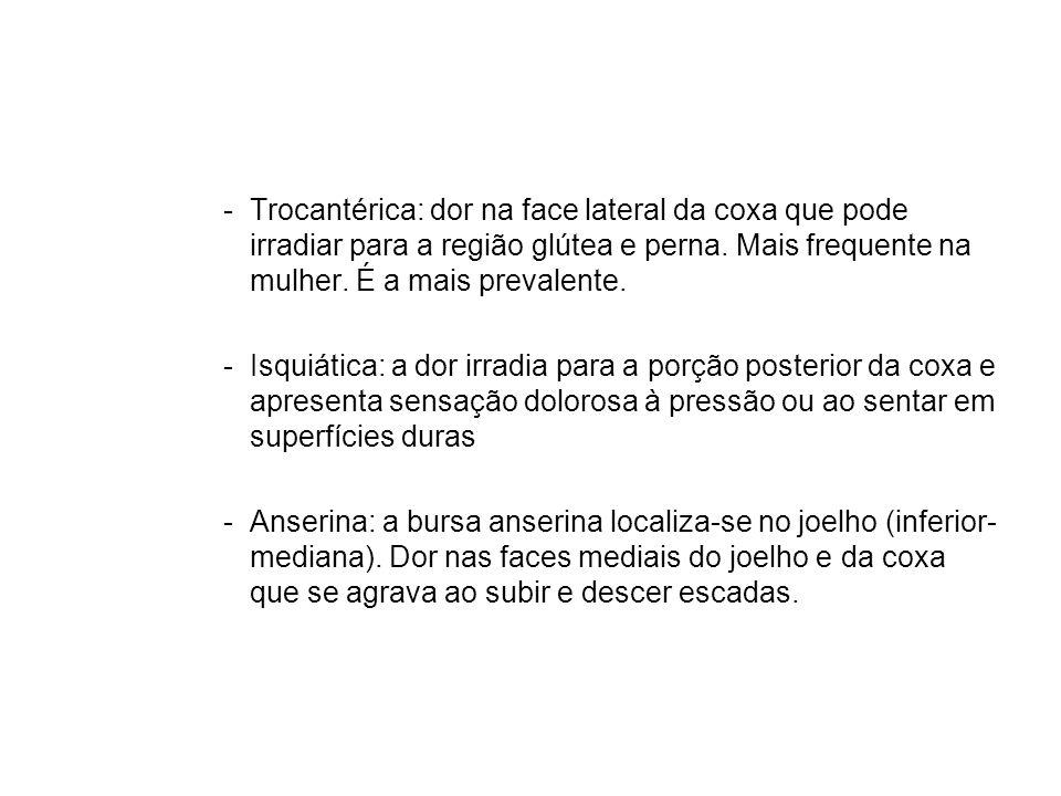 -Trocantérica: dor na face lateral da coxa que pode irradiar para a região glútea e perna.