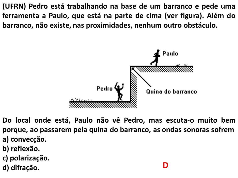 (UFRN) Pedro está trabalhando na base de um barranco e pede uma ferramenta a Paulo, que está na parte de cima (ver figura). Além do barranco, não exis