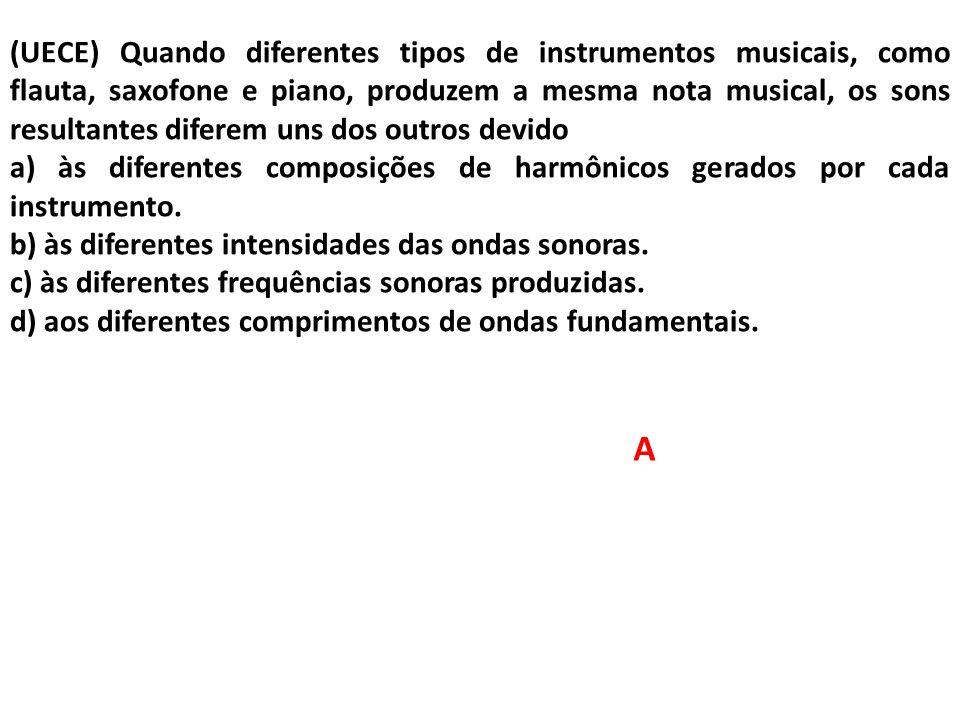 (UECE) Quando diferentes tipos de instrumentos musicais, como flauta, saxofone e piano, produzem a mesma nota musical, os sons resultantes diferem uns