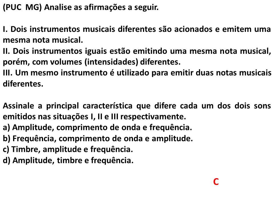 C (PUC MG) Analise as afirmações a seguir. I. Dois instrumentos musicais diferentes são acionados e emitem uma mesma nota musical. II. Dois instrument