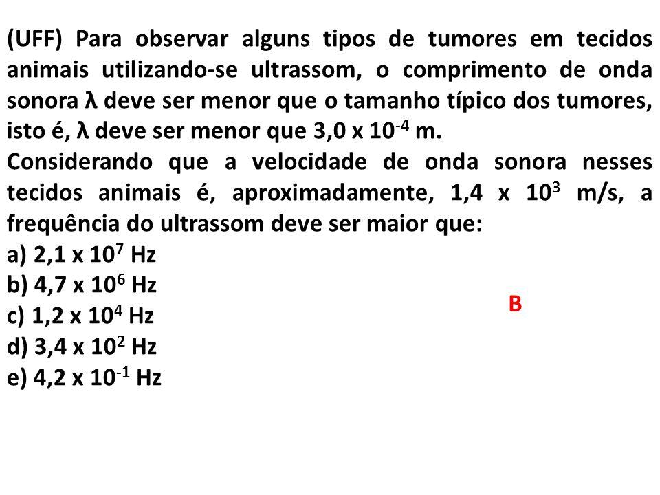 (UFF) Para observar alguns tipos de tumores em tecidos animais utilizando-se ultrassom, o comprimento de onda sonora λ deve ser menor que o tamanho tí