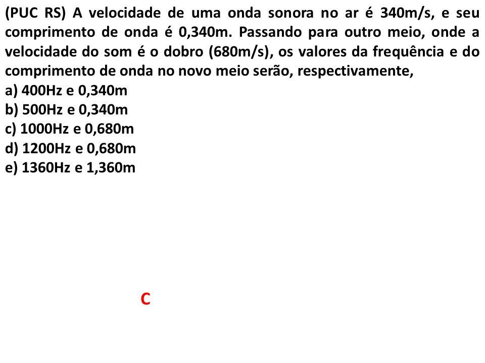 (UERJ) Uma onda harmônica propaga-se em uma corda longa de densidade constante com velocidade igual a 400 m/s.