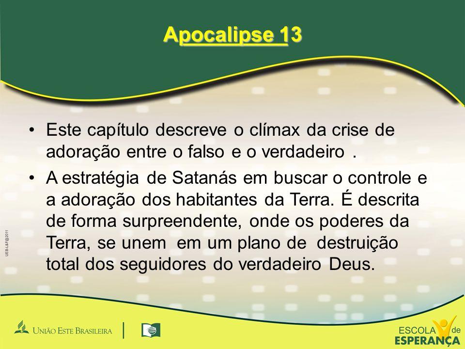 _________ _________ Apocalipse 13 •Este capítulo descreve o clímax da crise de adoração entre o falso e o verdadeiro. •A estratégia de Satanás em busc
