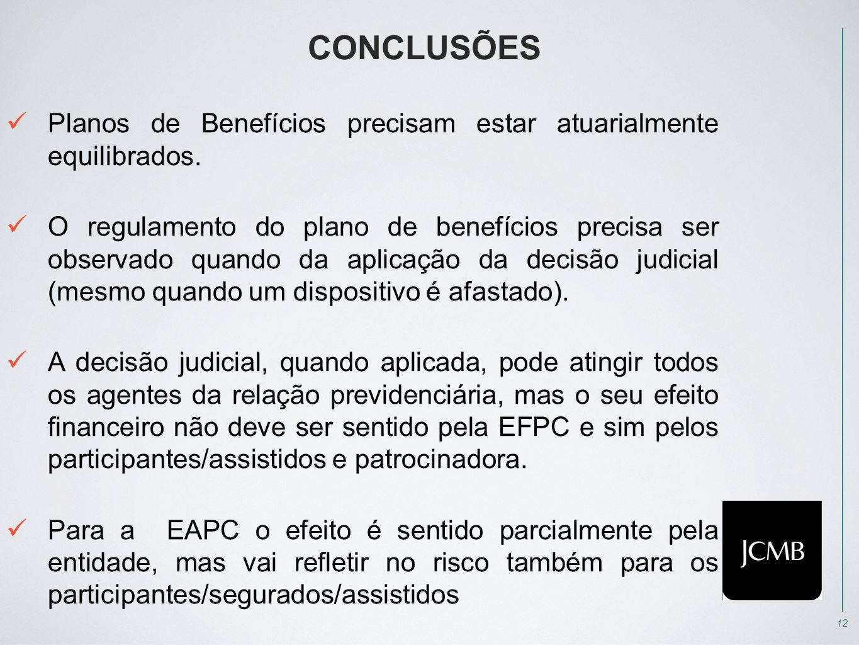 12 CONCLUSÕES  Planos de Benefícios precisam estar atuarialmente equilibrados.