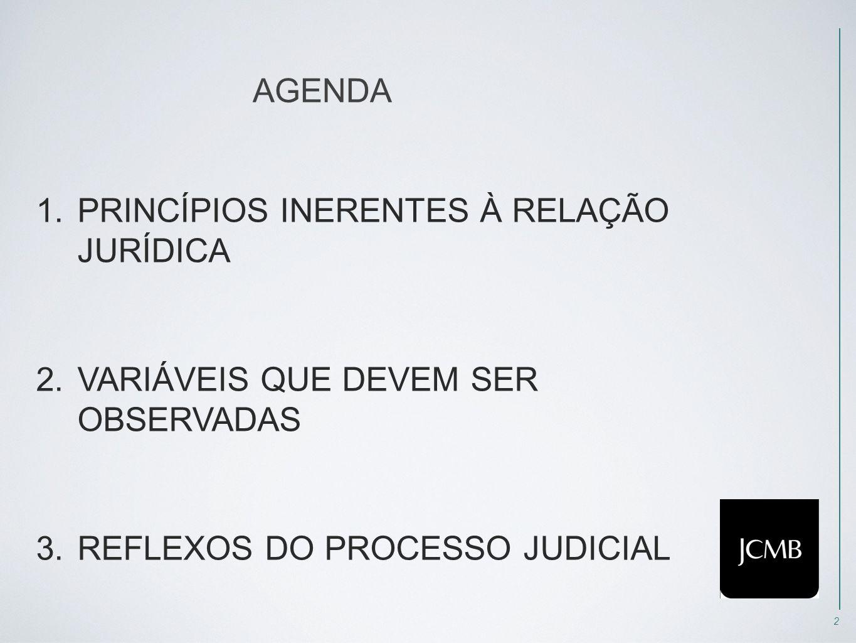 2 AGENDA 1.PRINCÍPIOS INERENTES À RELAÇÃO JURÍDICA 2.VARIÁVEIS QUE DEVEM SER OBSERVADAS 3.REFLEXOS DO PROCESSO JUDICIAL