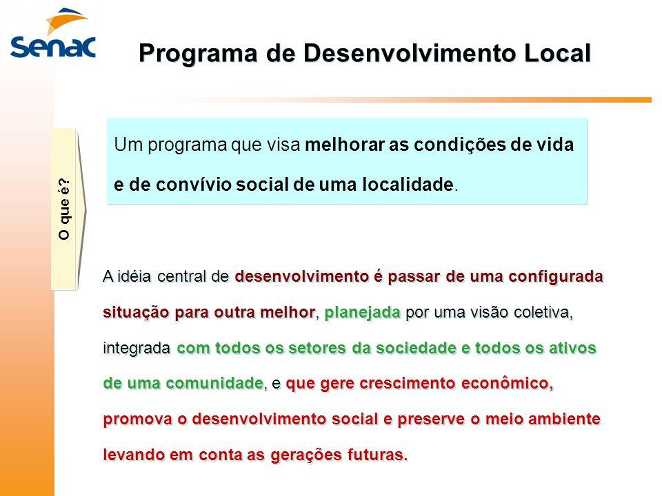 Programa de Desenvolvimento Local A idéia central de desenvolvimento é passar de uma configurada situação para outra melhor, planejada por uma visão c