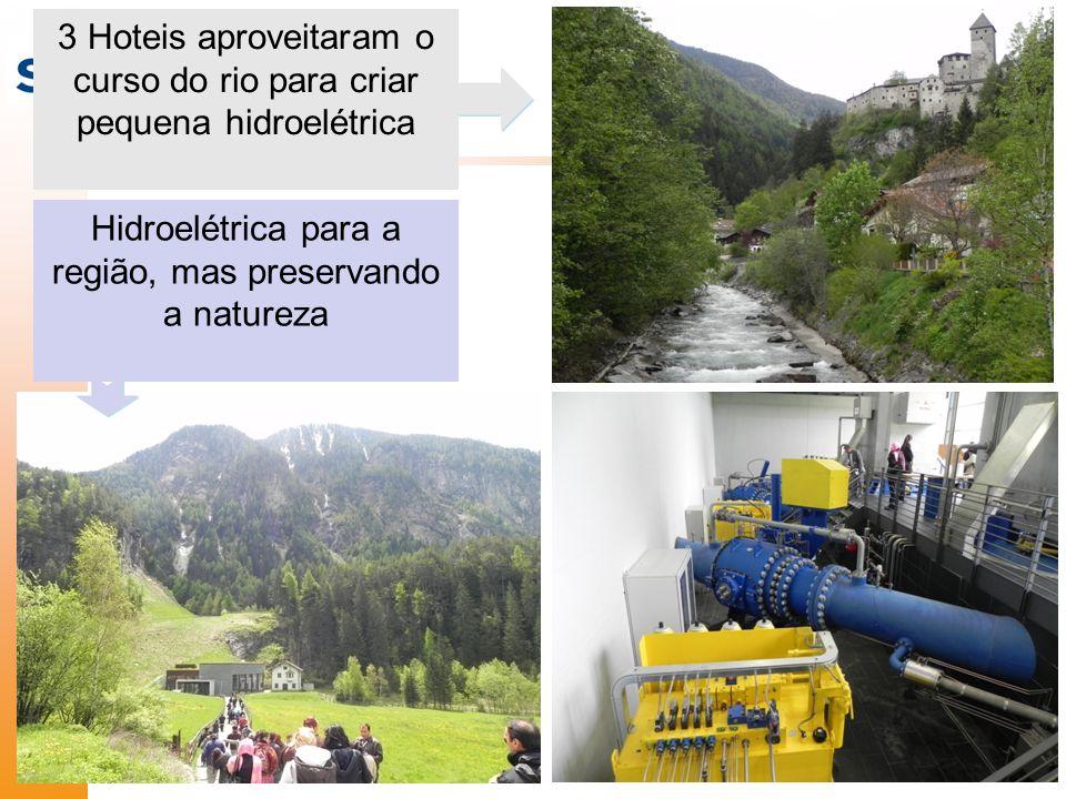 Hidroelétrica para a região, mas preservando a natureza 3 Hoteis aproveitaram o curso do rio para criar pequena hidroelétrica