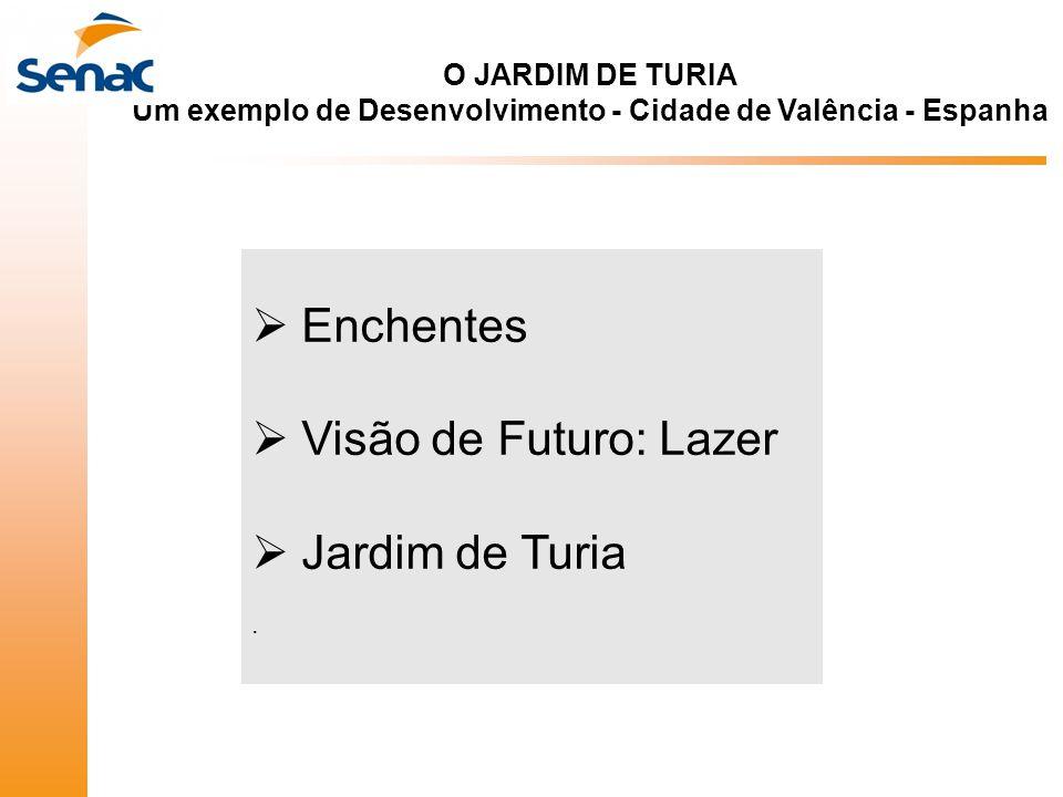  Enchentes  Visão de Futuro: Lazer  Jardim de Turia. O JARDIM DE TURIA Um exemplo de Desenvolvimento - Cidade de Valência - Espanha