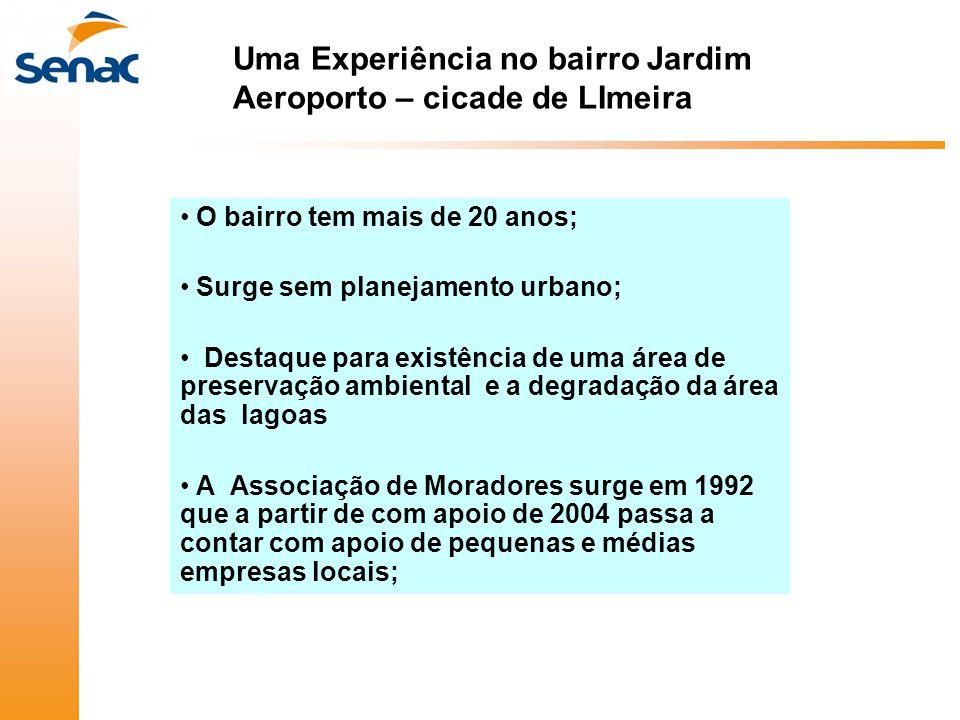 Uma Experiência no bairro Jardim Aeroporto – cicade de LImeira • O bairro tem mais de 20 anos; • Surge sem planejamento urbano; • Destaque para existê