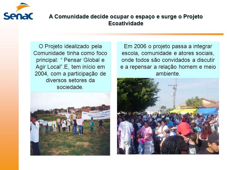 A Comunidade decide ocupar o espaço e surge o Projeto Ecoatividade Em 2006 o projeto passa a integrar escola, comunidade e atores sociais, onde todos