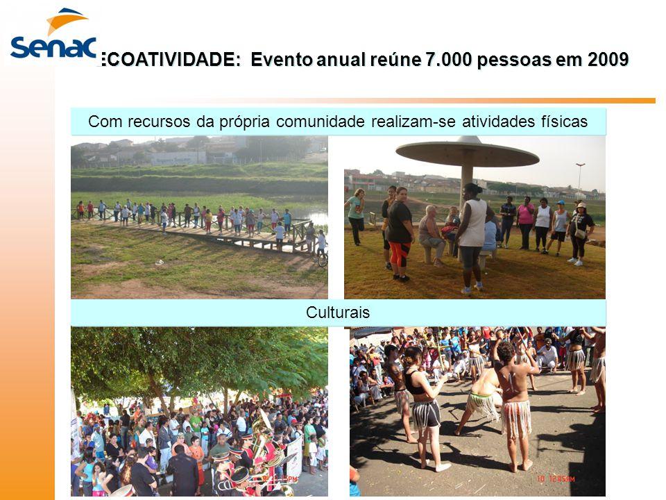Com recursos da própria comunidade realizam-se atividades físicas Culturais ECOATIVIDADE: Evento anual reúne 7.000 pessoas em 2009