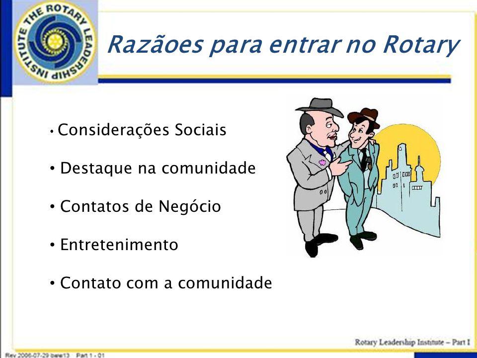 Razãoes para entrar no Rotary • Considerações Sociais • Destaque na comunidade • Contatos de Negócio • Entretenimento • Contato com a comunidade