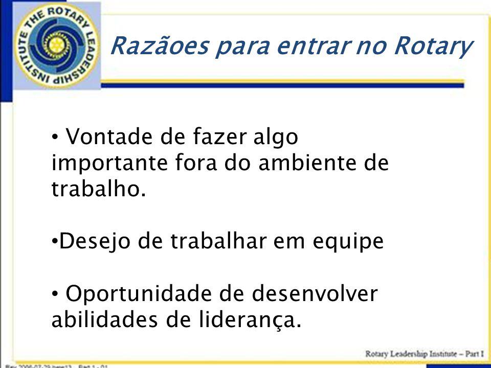Razãoes para entrar no Rotary • Vontade de fazer algo importante fora do ambiente de trabalho. • Desejo de trabalhar em equipe • Oportunidade de desen