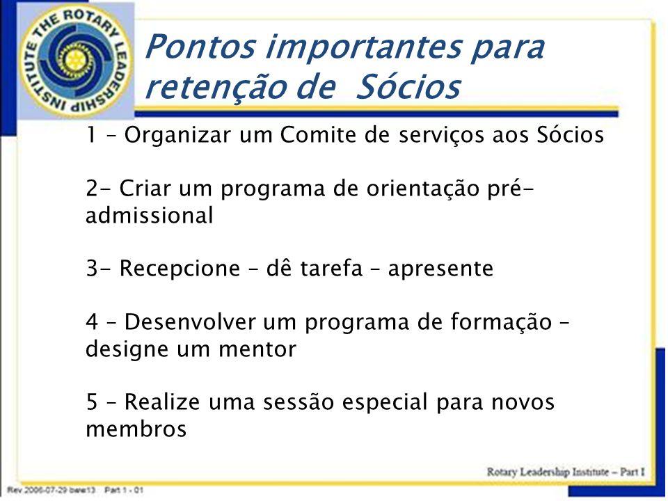 Pontos importantes para retenção de Sócios 1 – Organizar um Comite de serviços aos Sócios 2- Criar um programa de orientação pré- admissional 3- Recep