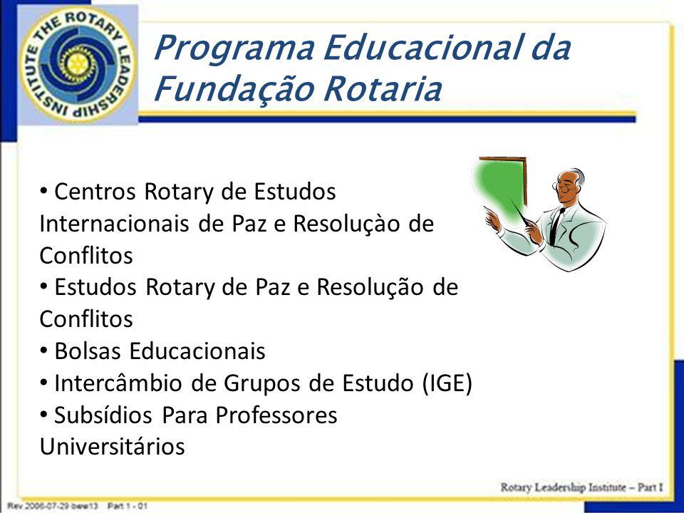 Programa Educacional da Fundação Rotaria • Centros Rotary de Estudos Internacionais de Paz e Resoluçào de Conflitos • Estudos Rotary de Paz e Resoluçã