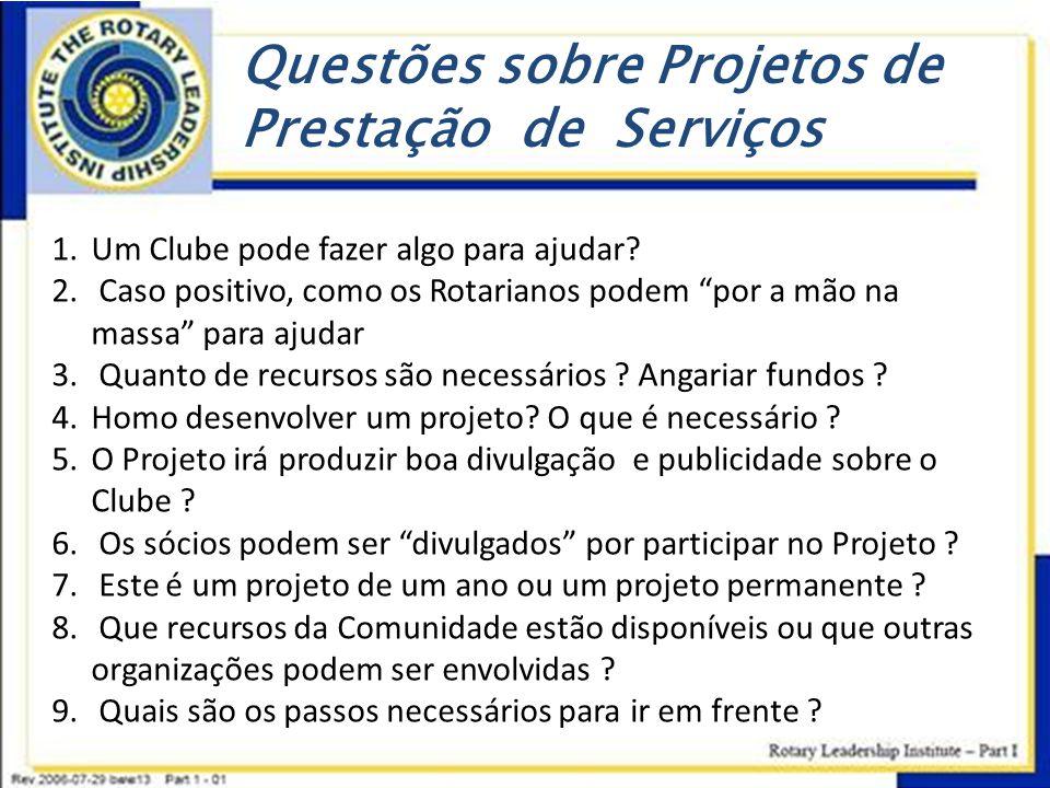 """Questões sobre Projetos de Prestação de Serviços 1.Um Clube pode fazer algo para ajudar? 2. Caso positivo, como os Rotarianos podem """"por a mão na mass"""