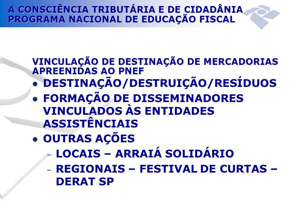 A CONSCIÊNCIA TRIBUTÁRIA E DE CIDADÂNIA PROGRAMA NACIONAL DE EDUCAÇÃO FISCAL VINCULAÇÃO DE DESTINAÇÃO DE MERCADORIAS APREENIDAS AO PNEF  DESTINAÇÃO/D