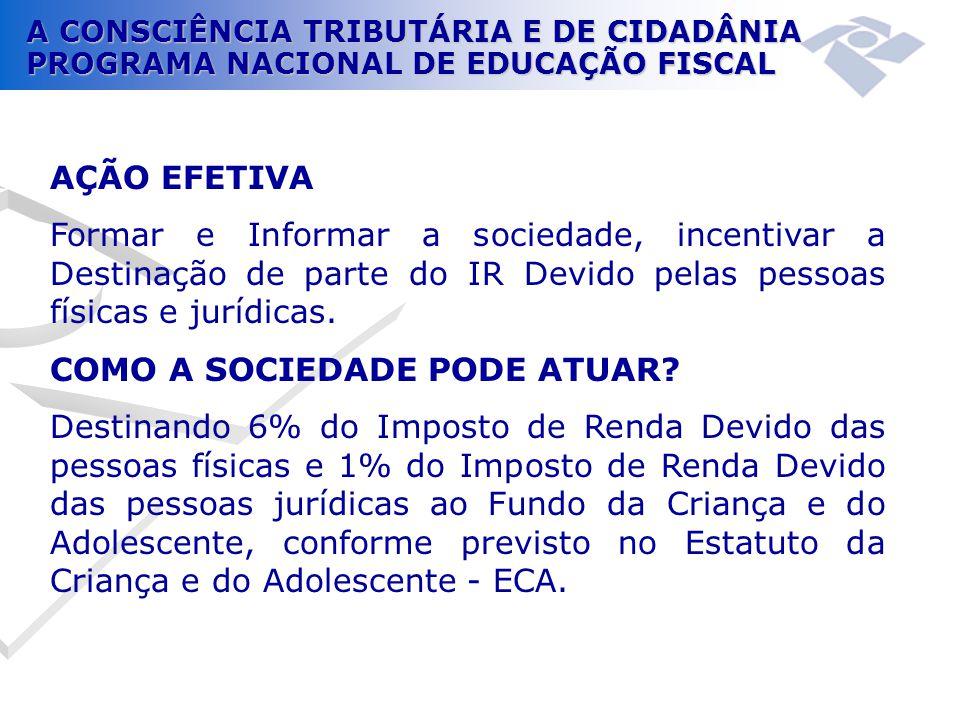 A CONSCIÊNCIA TRIBUTÁRIA E DE CIDADÂNIA PROGRAMA NACIONAL DE EDUCAÇÃO FISCAL AÇÃO EFETIVA Formar e Informar a sociedade, incentivar a Destinação de pa