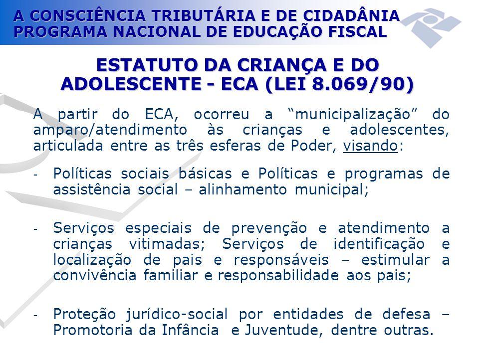A CONSCIÊNCIA TRIBUTÁRIA E DE CIDADÂNIA PROGRAMA NACIONAL DE EDUCAÇÃO FISCAL ESTATUTO DA CRIANÇA E DO ADOLESCENTE - ECA (LEI 8.069/90) A partir do ECA