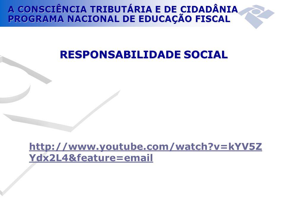 A CONSCIÊNCIA TRIBUTÁRIA E DE CIDADÂNIA PROGRAMA NACIONAL DE EDUCAÇÃO FISCAL http://www.youtube.com/watch?v=kYV5Z Ydx2L4&feature=email RESPONSABILIDAD