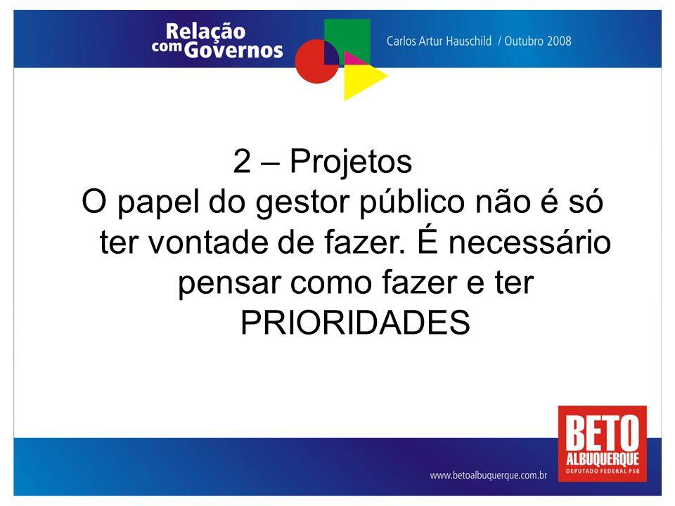 2 – Projetos O papel do gestor público não é só ter vontade de fazer. É necessário pensar como fazer e ter PRIORIDADES