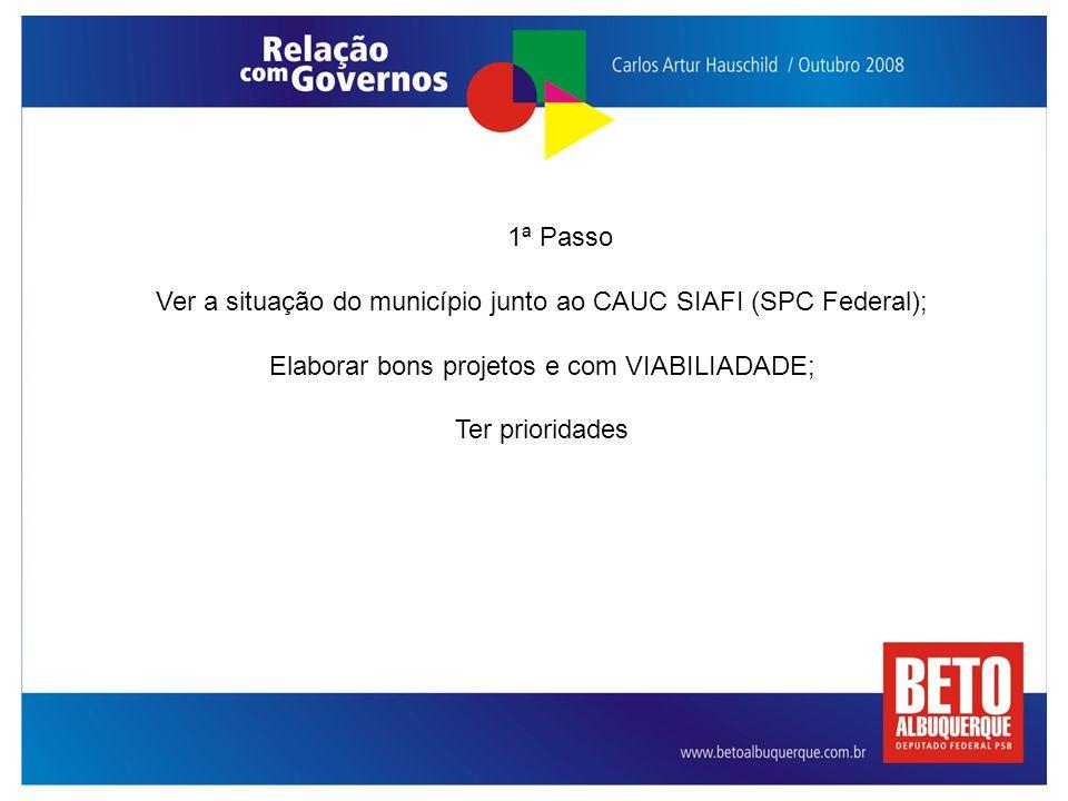 1ª Passo Ver a situação do município junto ao CAUC SIAFI (SPC Federal); Elaborar bons projetos e com VIABILIADADE; Ter prioridades