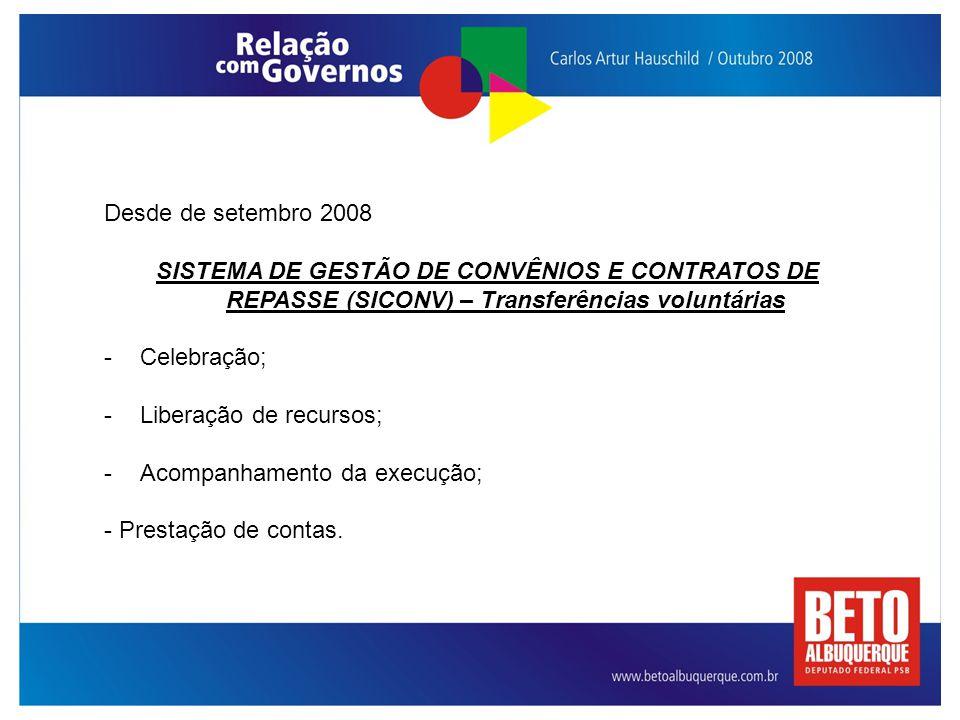 Desde de setembro 2008 SISTEMA DE GESTÃO DE CONVÊNIOS E CONTRATOS DE REPASSE (SICONV) – Transferências voluntárias -Celebração; -Liberação de recursos