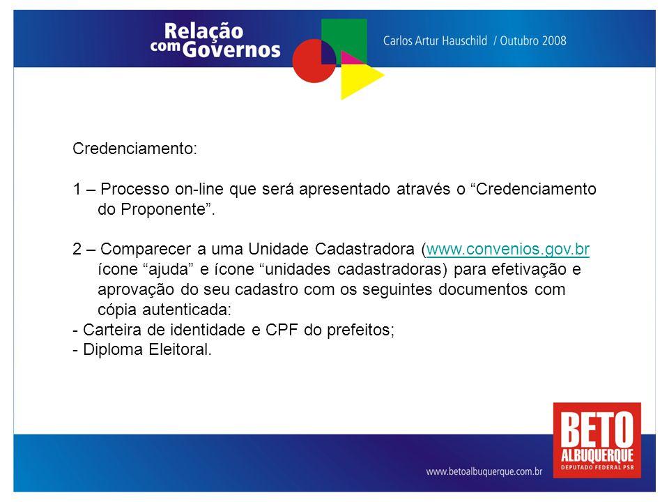 """Credenciamento: 1 – Processo on-line que será apresentado através o """"Credenciamento do Proponente"""". 2 – Comparecer a uma Unidade Cadastradora (www.con"""